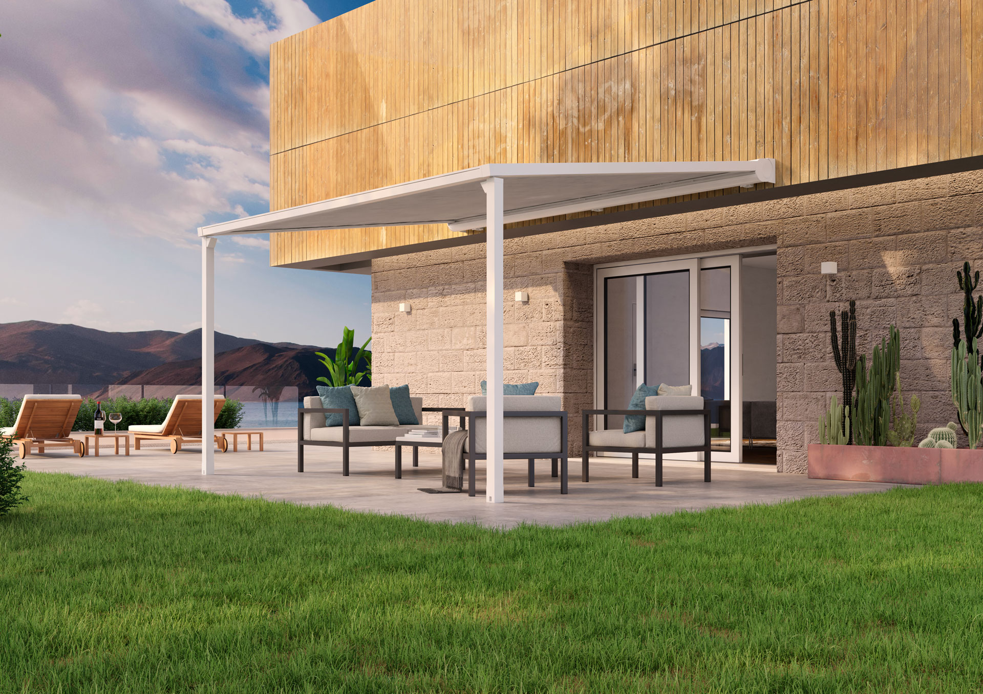 BAT introduces SIRIO, the brand-new minimal pergola awning with zip guide rail and folded cloth